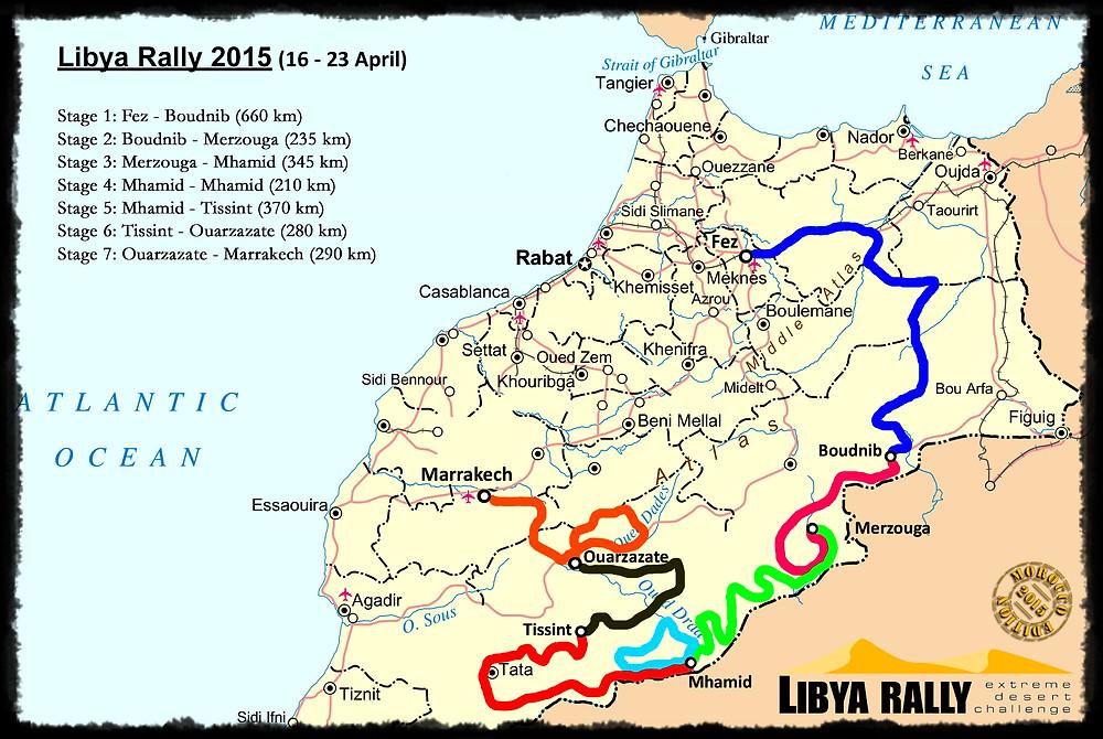 Le Libya Rally est parti de Fès le 16 avril pour arriver à Marrakech le 23 avril.