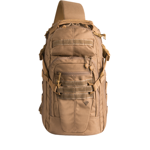 Mochila Táctica cruzada color Coyote  |  First Tactical