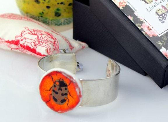 Bracelet jonc porcelaine émaillée décors insecte