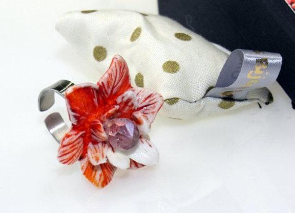 Bague fleur porcelaine