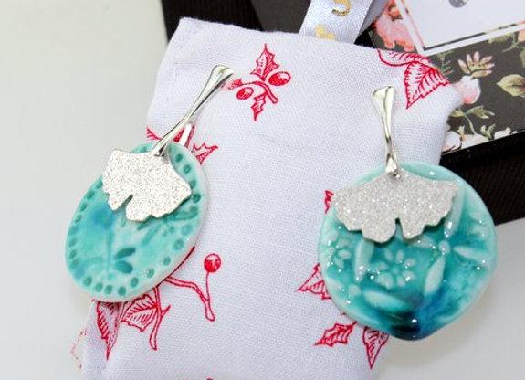 Boucles d'oreilles porcelaine Ginkgo