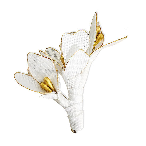Broche Fleur - Blanc et doré