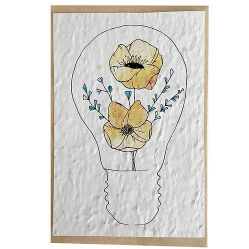 """Carte à planter """" Ampoule fleurie """""""