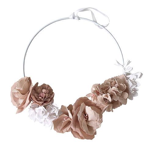 Couronne de fleurs - Vieux rose et blanc
