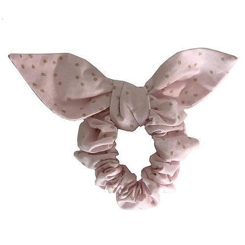 Chouchou noeud - rose à pois doré