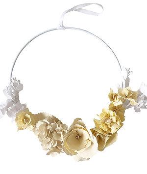 Couronne de fleurs - Jaune et blanc
