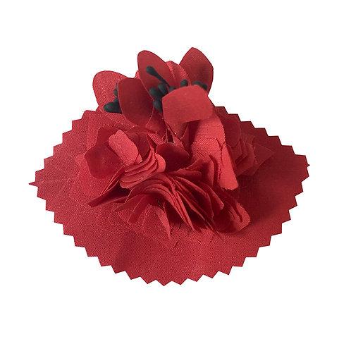 Barrette Fleur rouge et pistils noirs