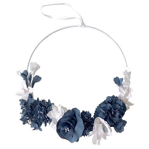 Couronne de fleurs - Bleu et blanc