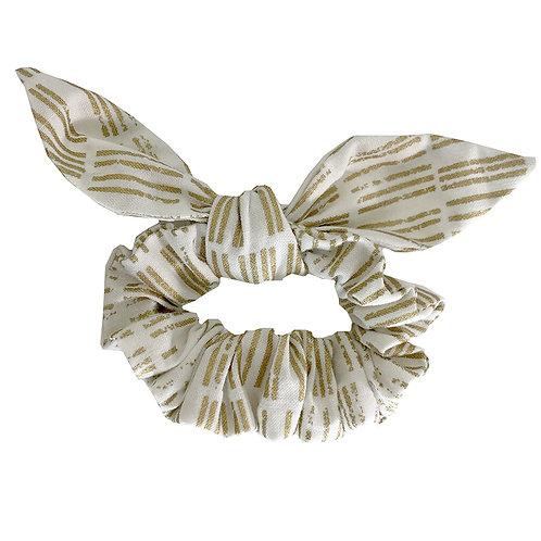 Chouchou noeud - blanc et doré