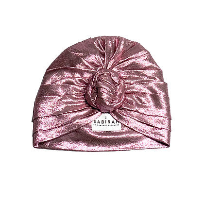 Pink Silk Lurex Turban