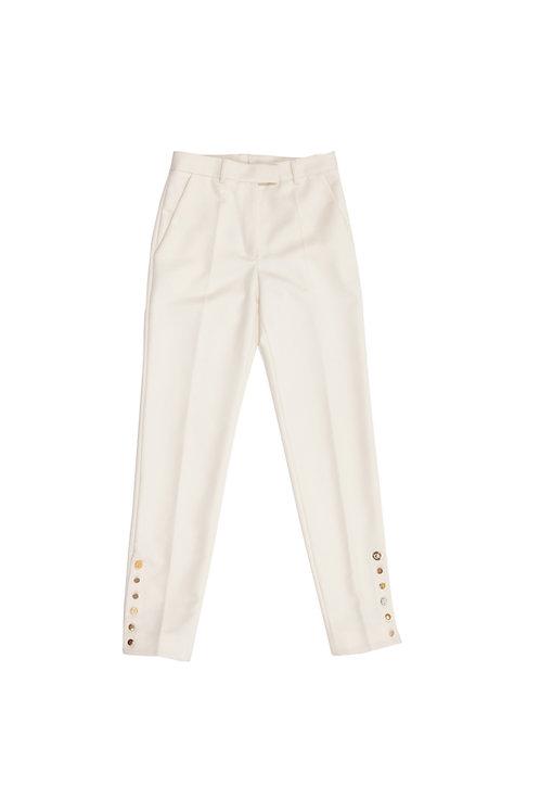 Cigarette Pants in Cream Wool