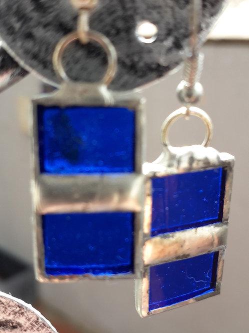 blue squares earrings