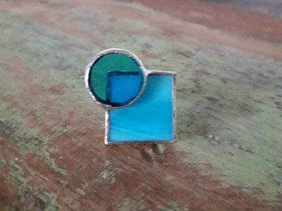 turquoise circle & square ring