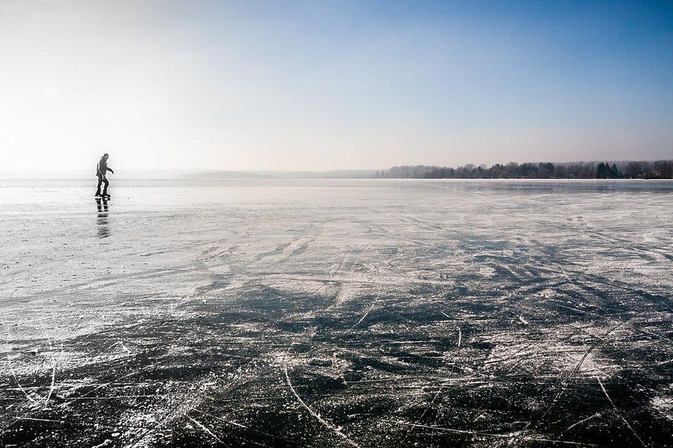 Skating on frozen ice