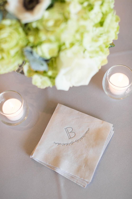 custom B cocktail napkins, wedding details