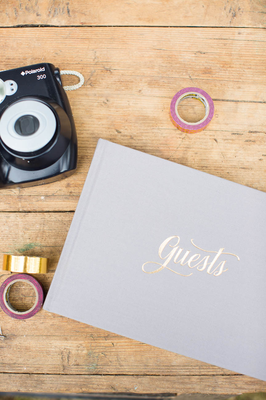 guestbook and polaroid camera