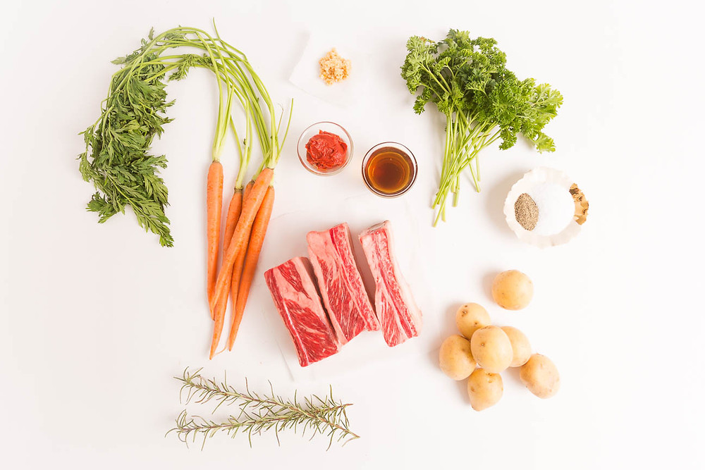 ingredients for short rib recipe, vegetables and spices, food photography