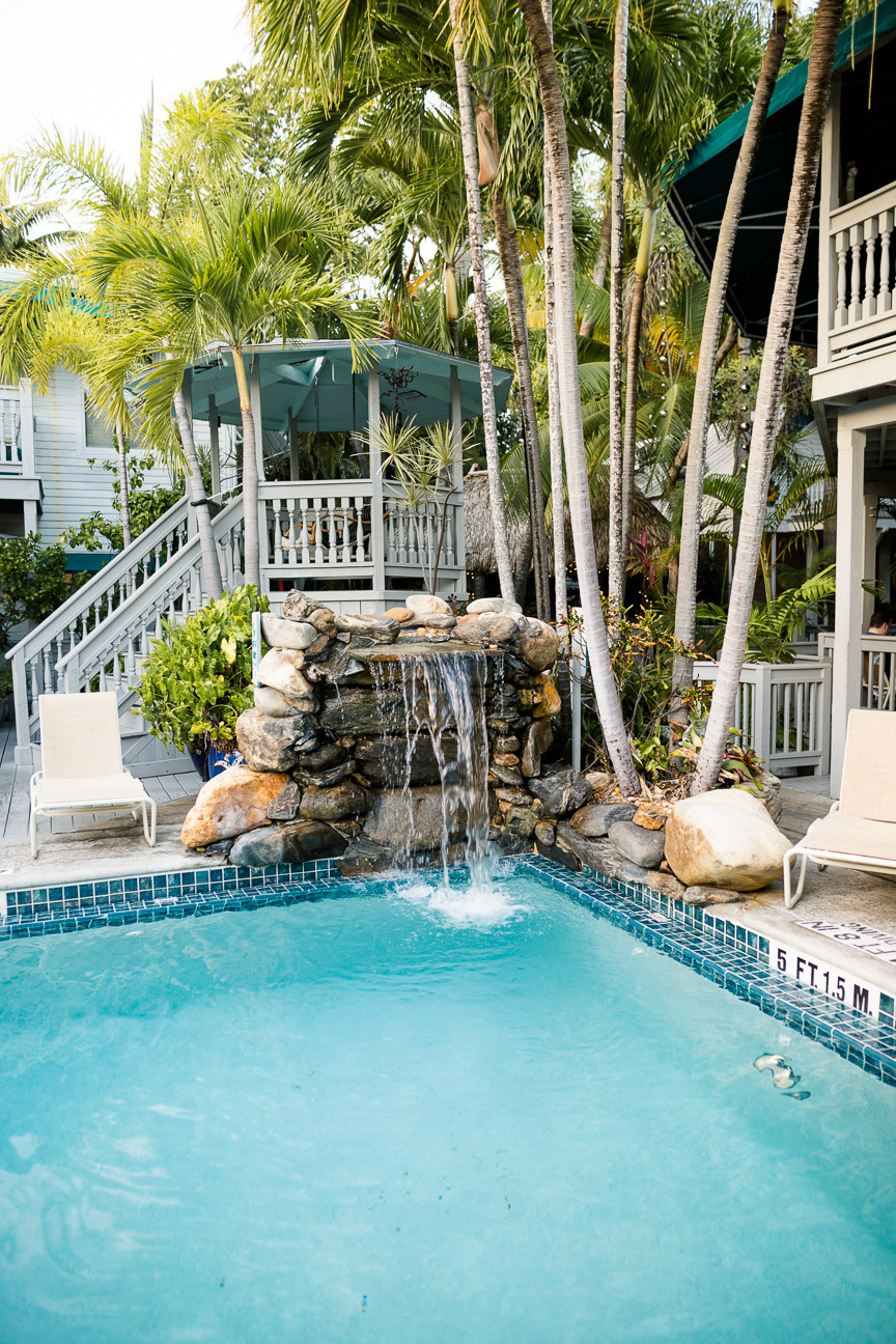Pool with waterfall at Eden House, Key West, FL