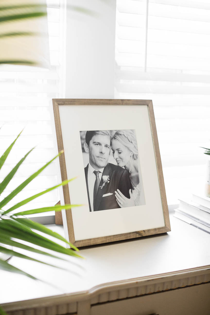 framed black and white photo from wedding