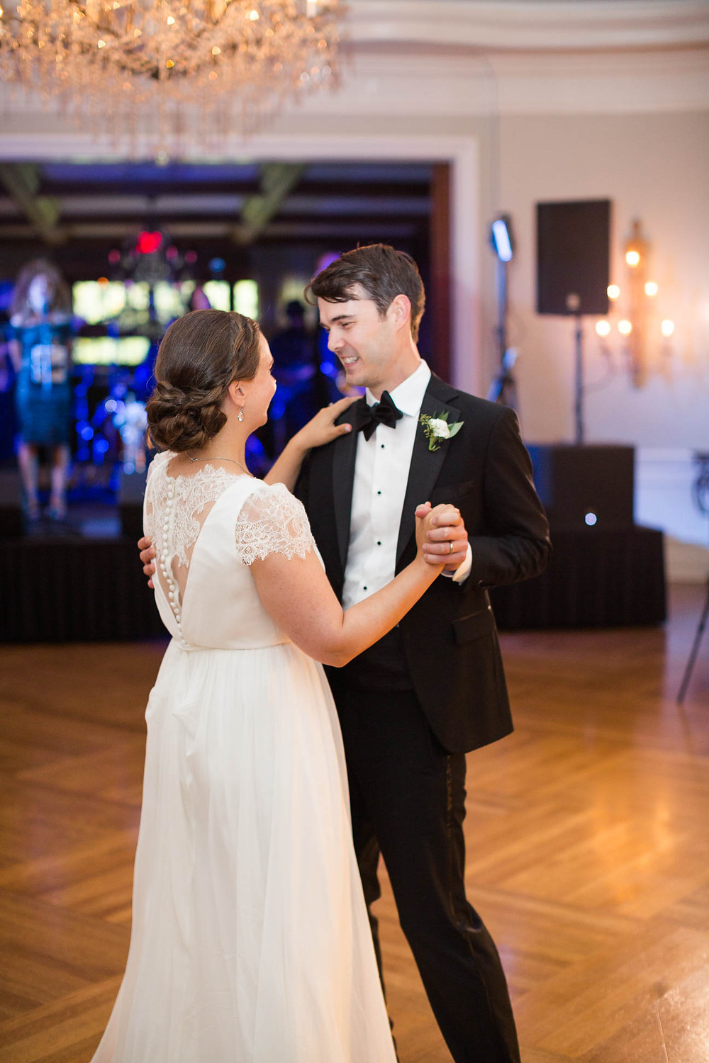 bride and groom shares a first dance