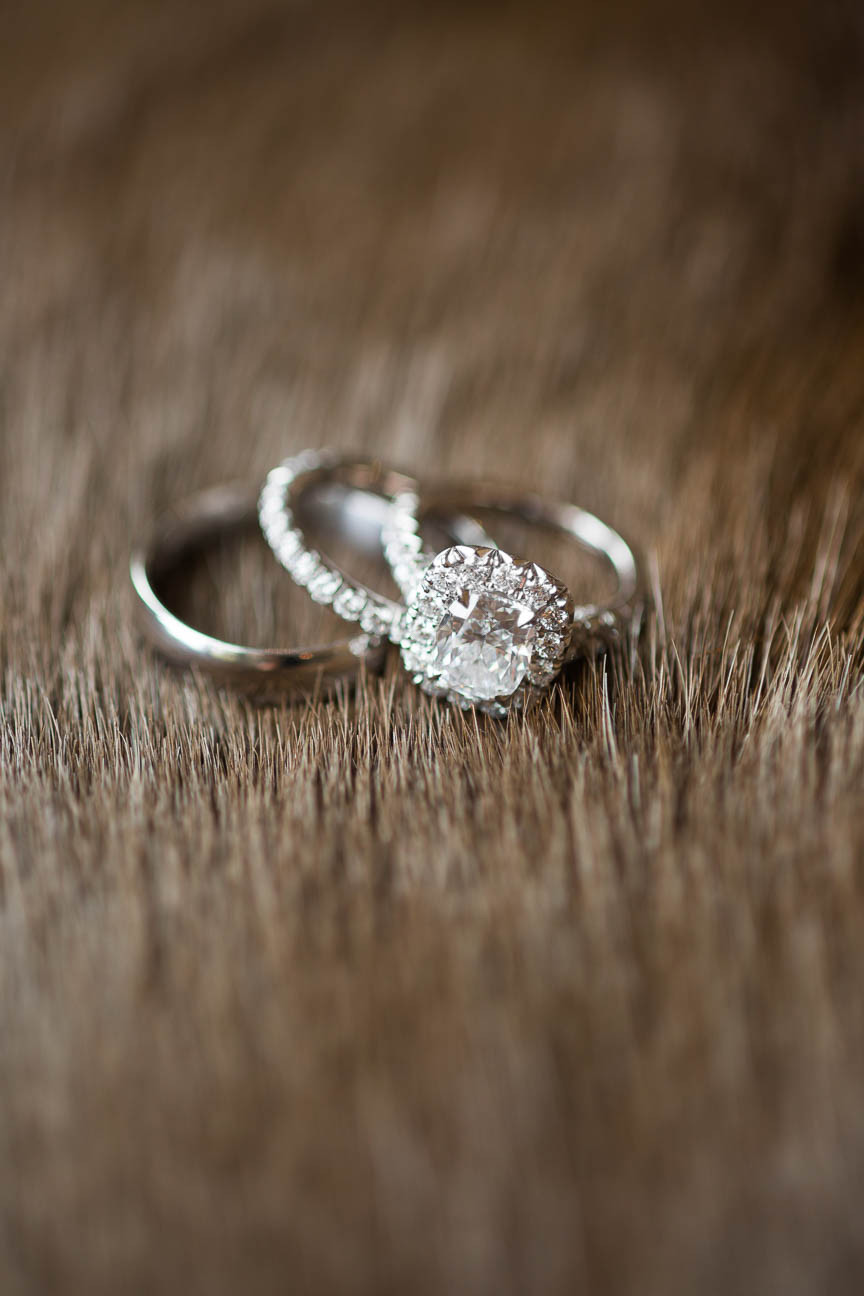 diamond rings on fur pillow
