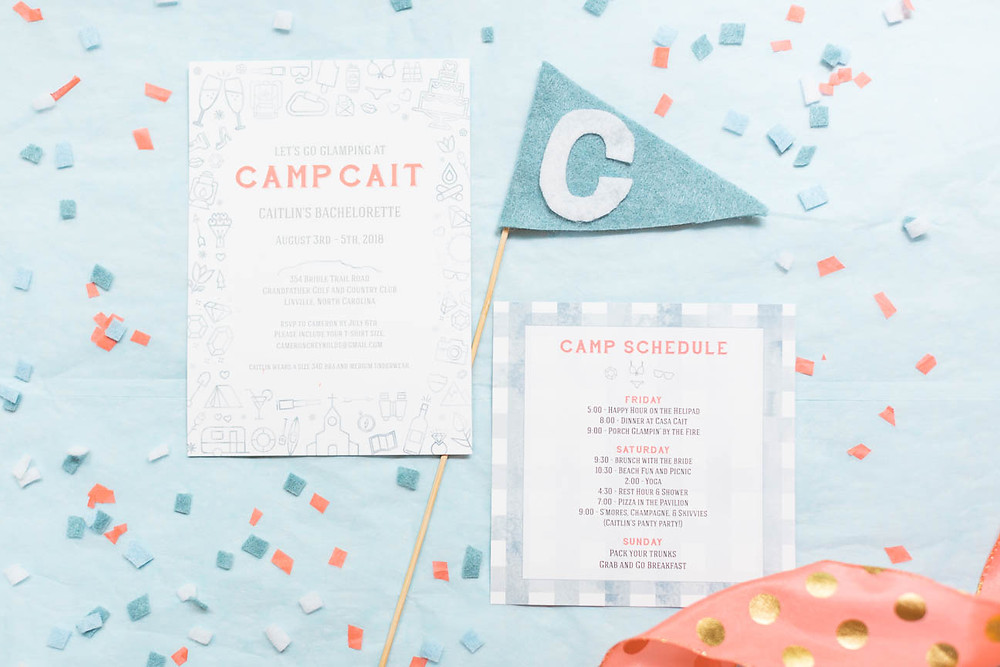 image of glamping party invitation and schedule
