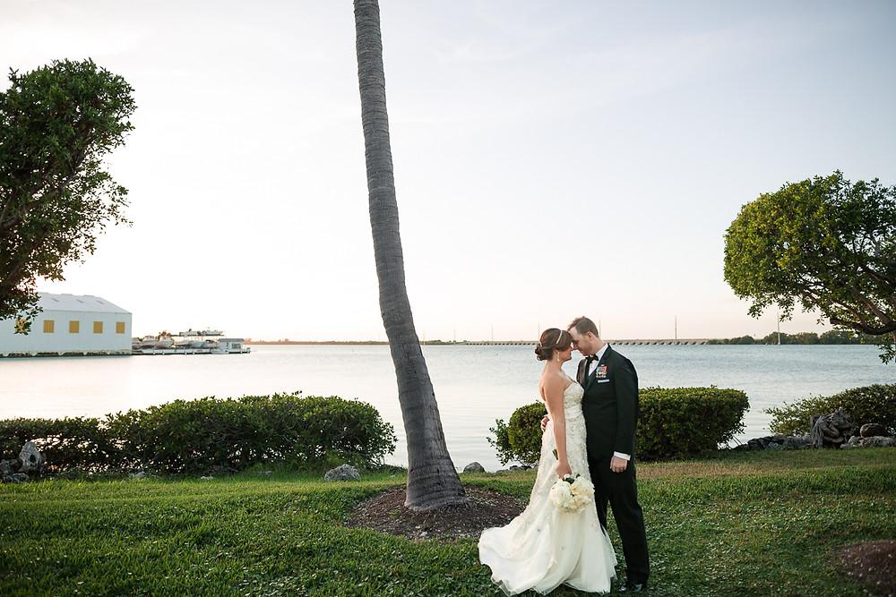 Portrait of Bride and Groom at sunset, Florida Keys Wedding, destination wedding, southern weddings, wedding photography