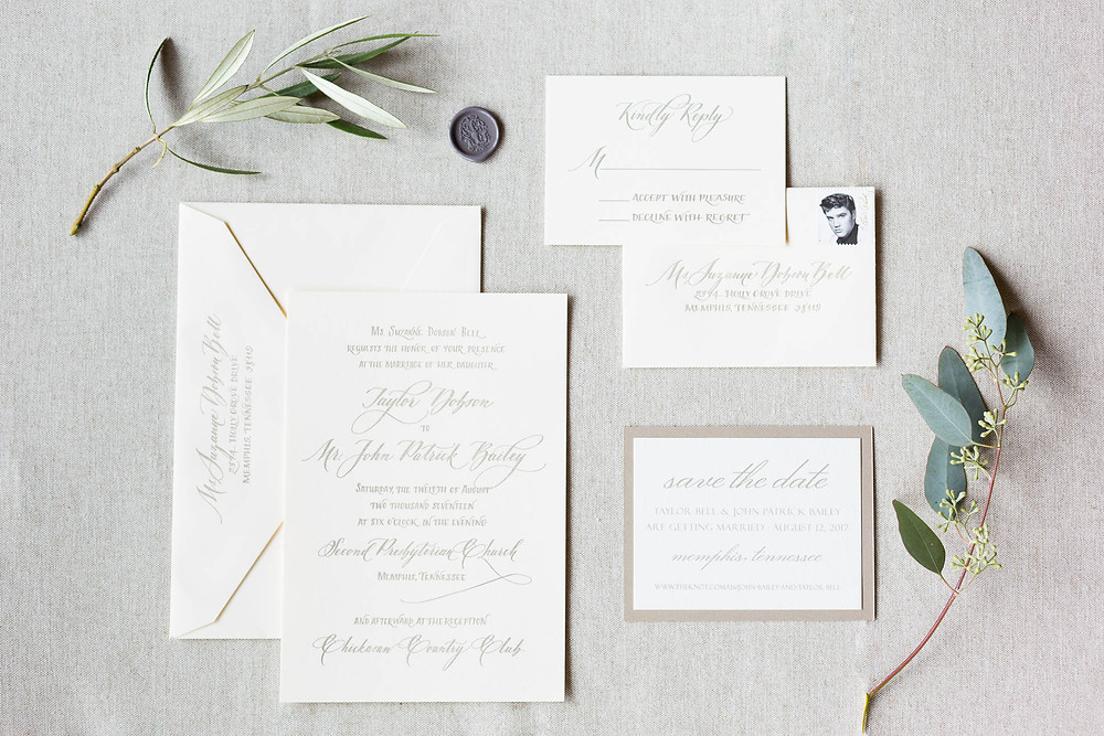 invitation suite with letterpressed calligraphy and wax seal