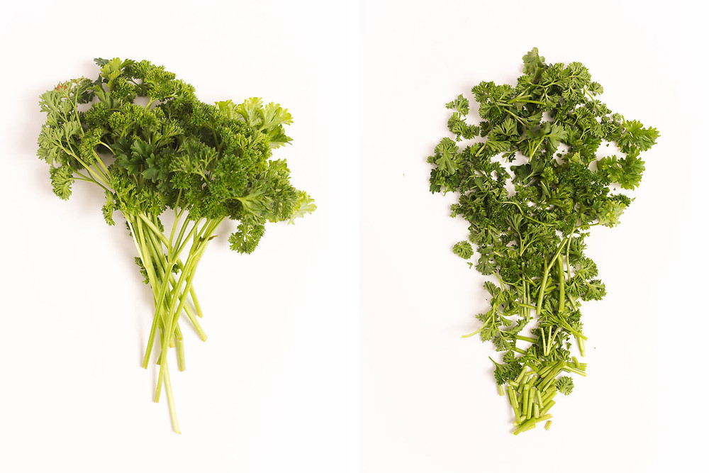 parsley and cut parsley for short rib recipe, produce