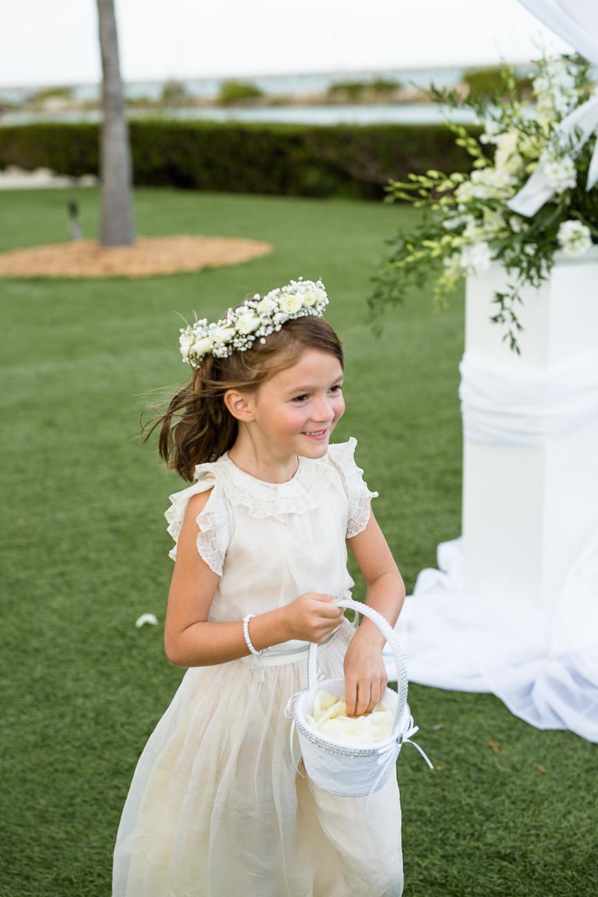 Flower girl walks down aisle, destination wedding, southern weddings, wedding photography