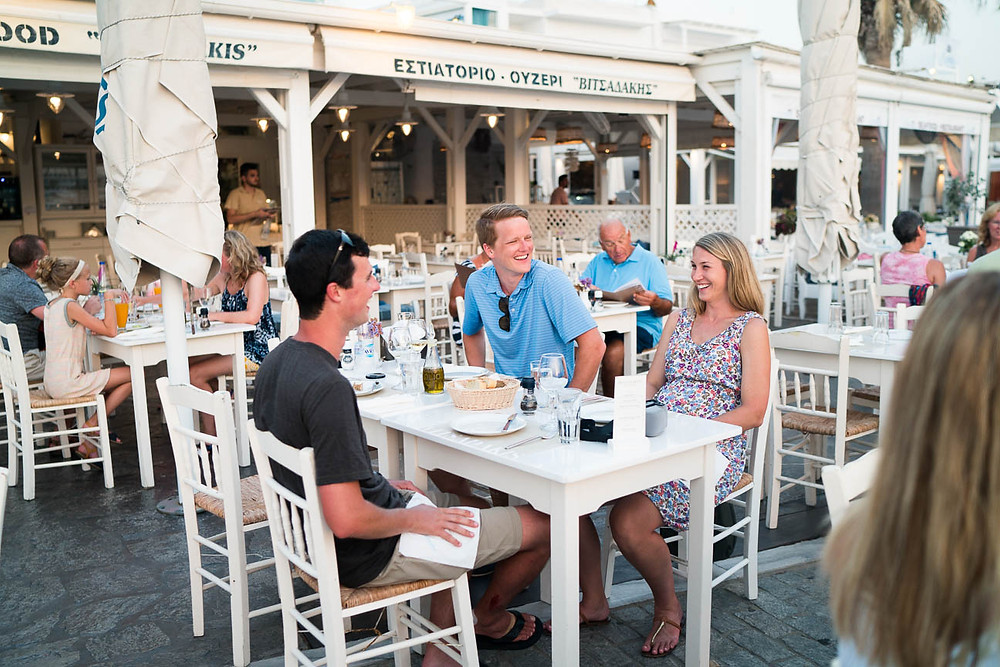 sunset dining outside on a Greek island