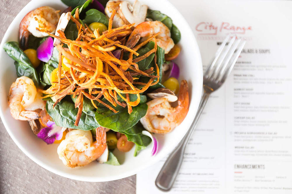 shrimp salad on City Range Steakhouse menu