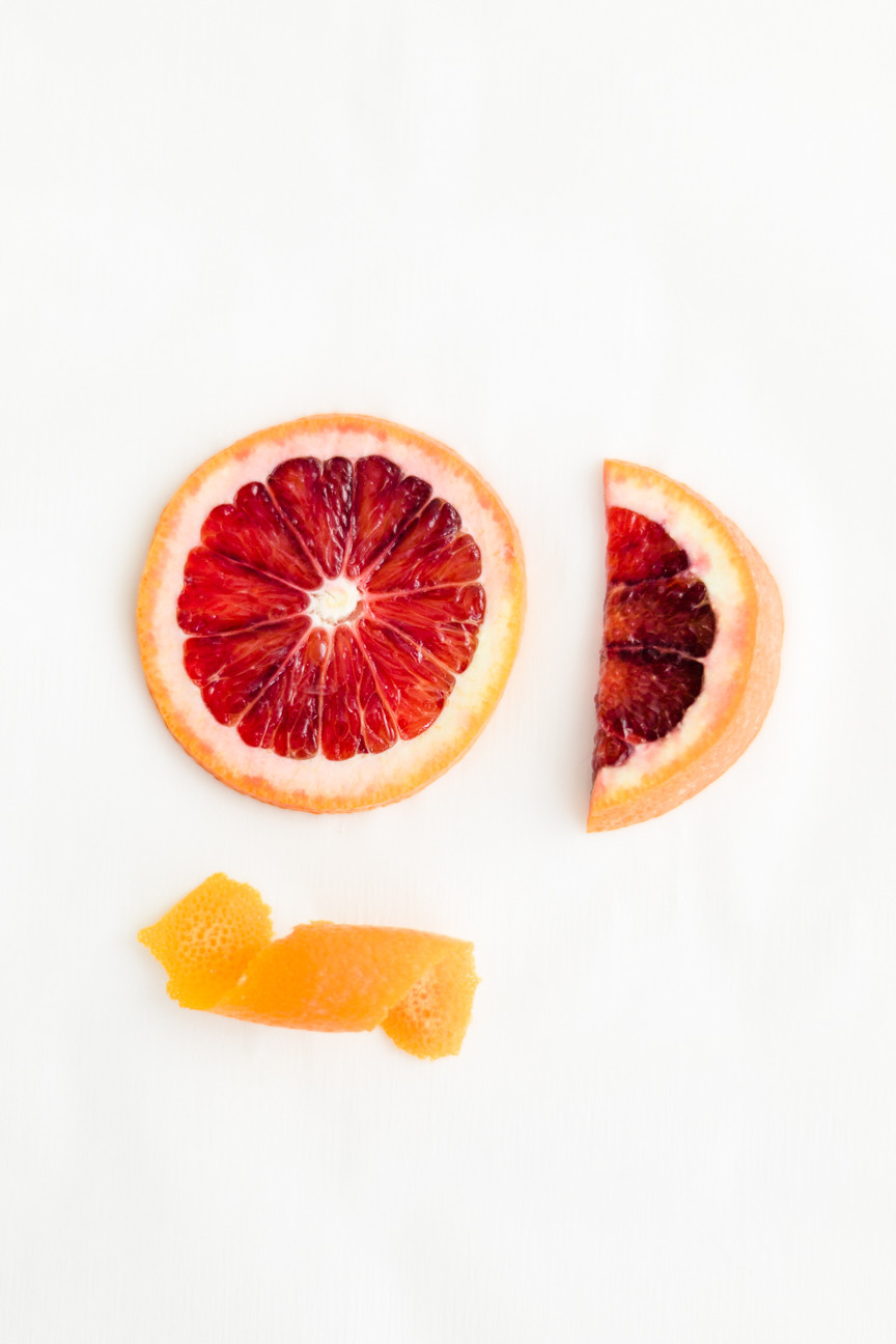 Blood orange slice and peel, food photography, food styling