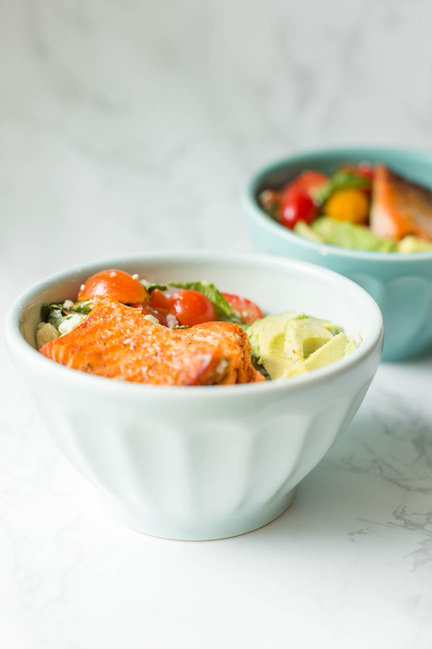 honey lime salmon recipe in Anthropologie bowls