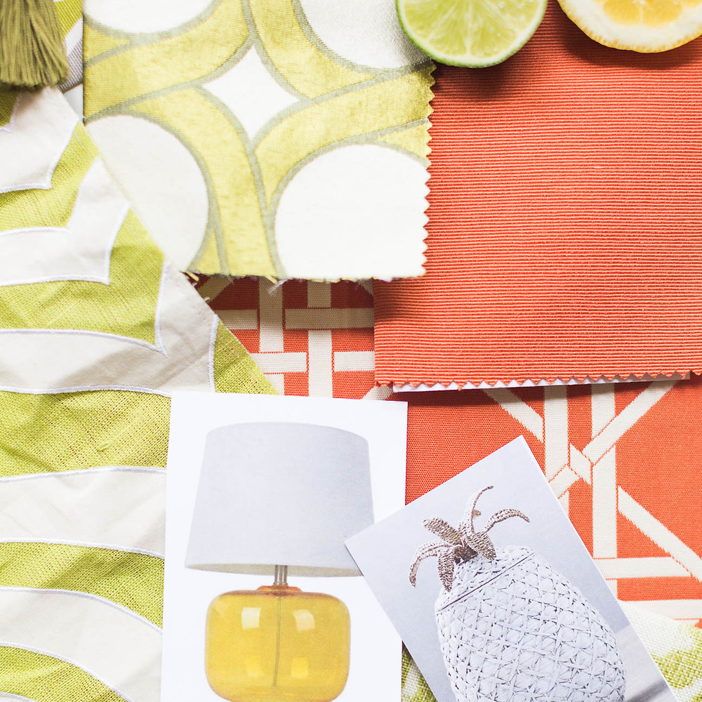 image of textiles and pictures for interior design client