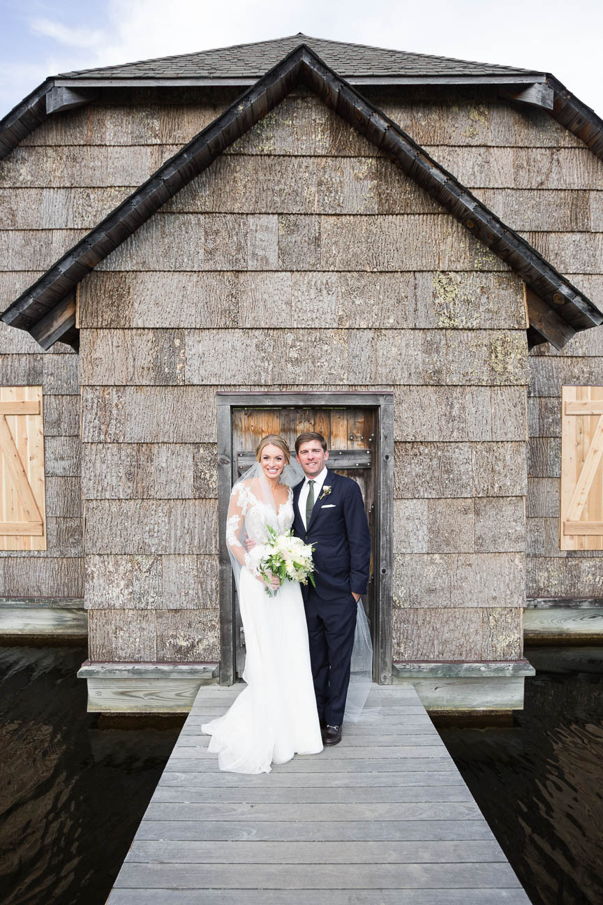 newlywed portrait in front of boat house, Esseola, Linville NC