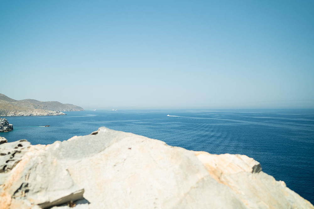 view of the Agean Sea from a lighthouse on the Greek island of Paros