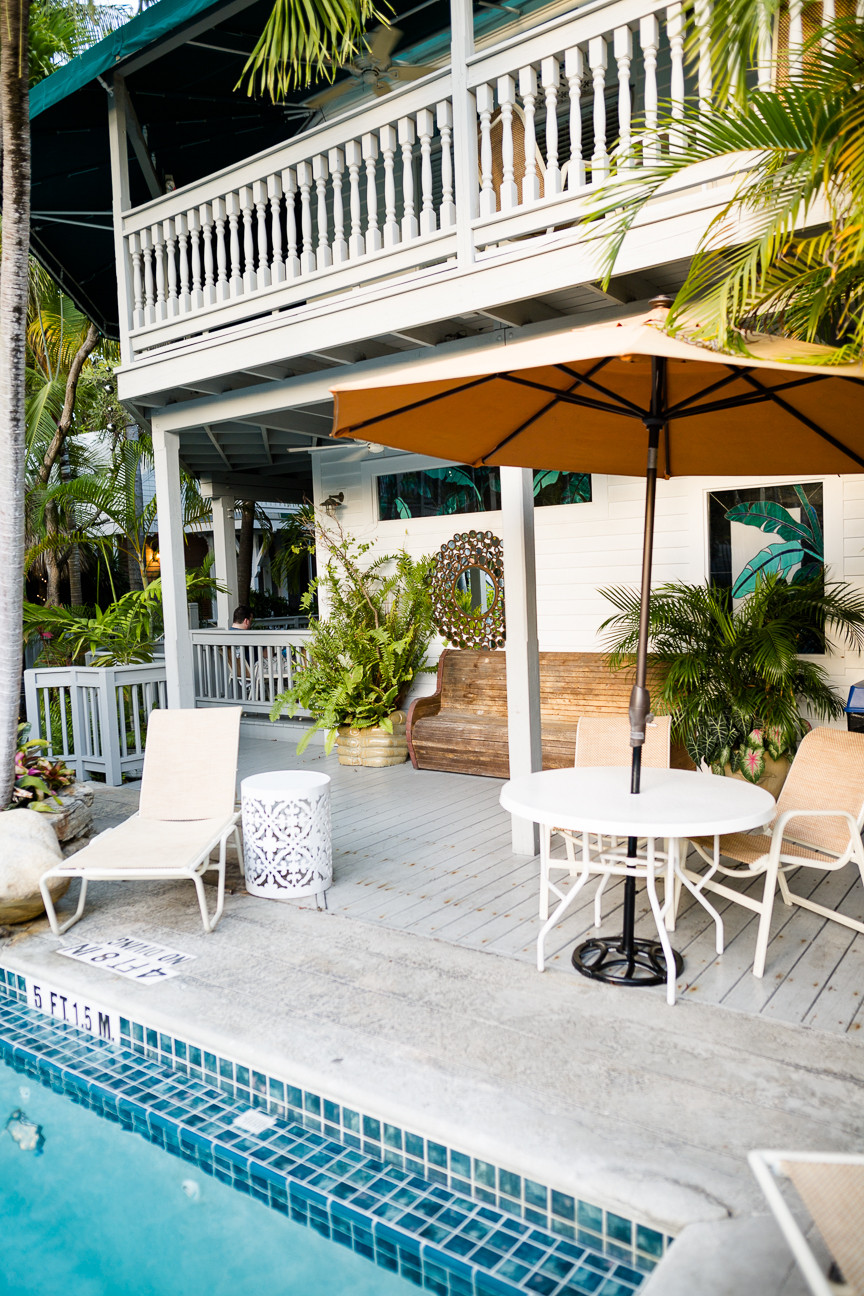 Pool and chairs at Eden House Hotel, Key West, FL