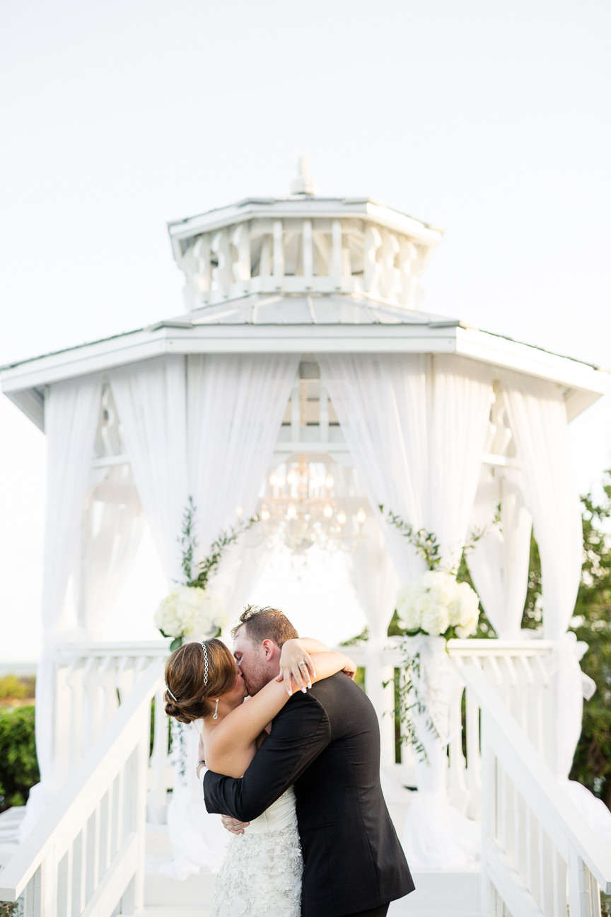 bride and groom's first kiss, destination wedding, southern weddings, wedding photography