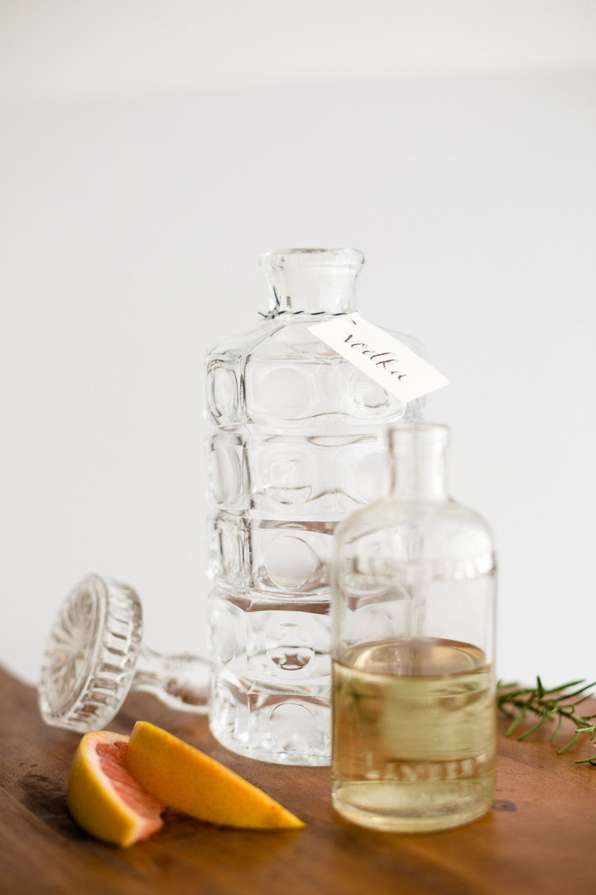 vintage decanters, cocktails, food styling, food photography, commercial photography