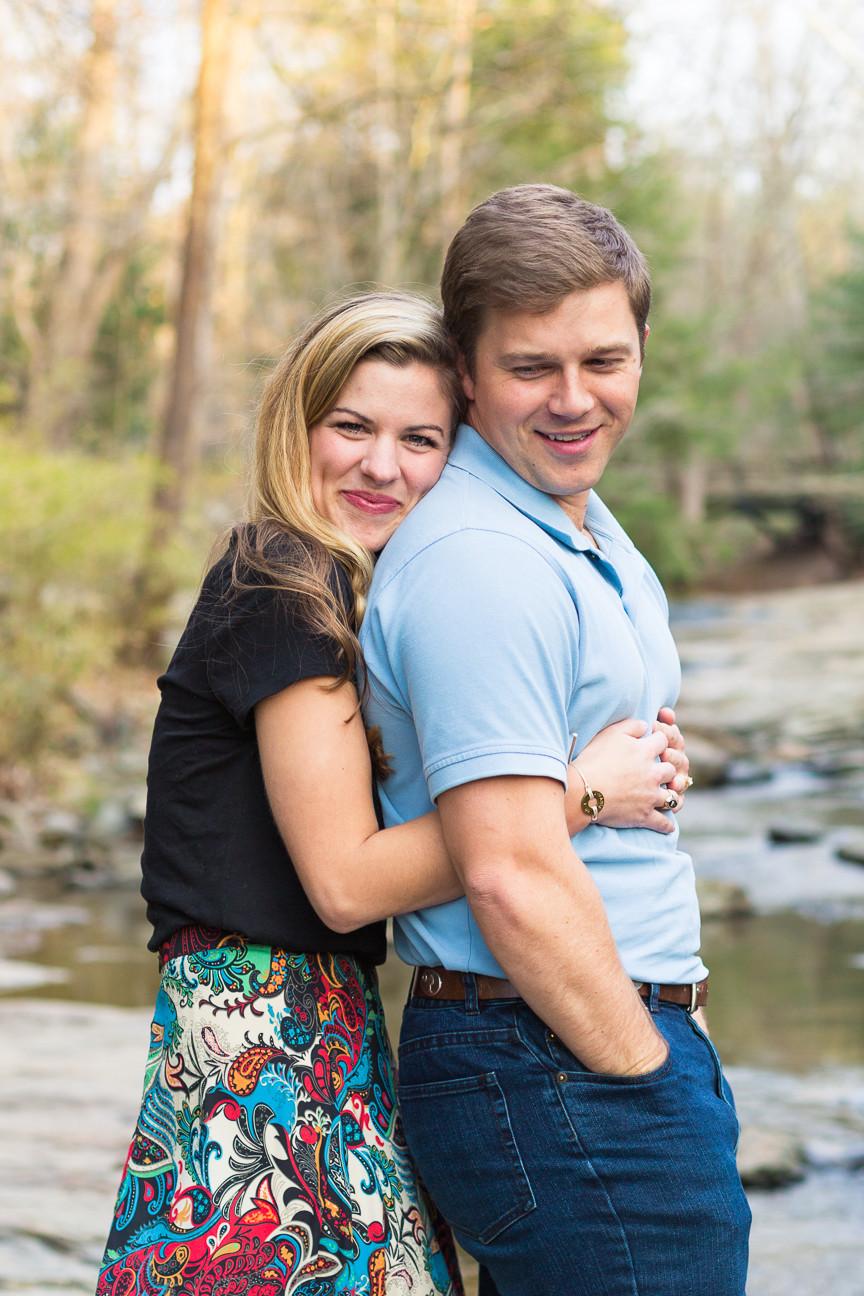 bride hugging groom, Asheville engagement session