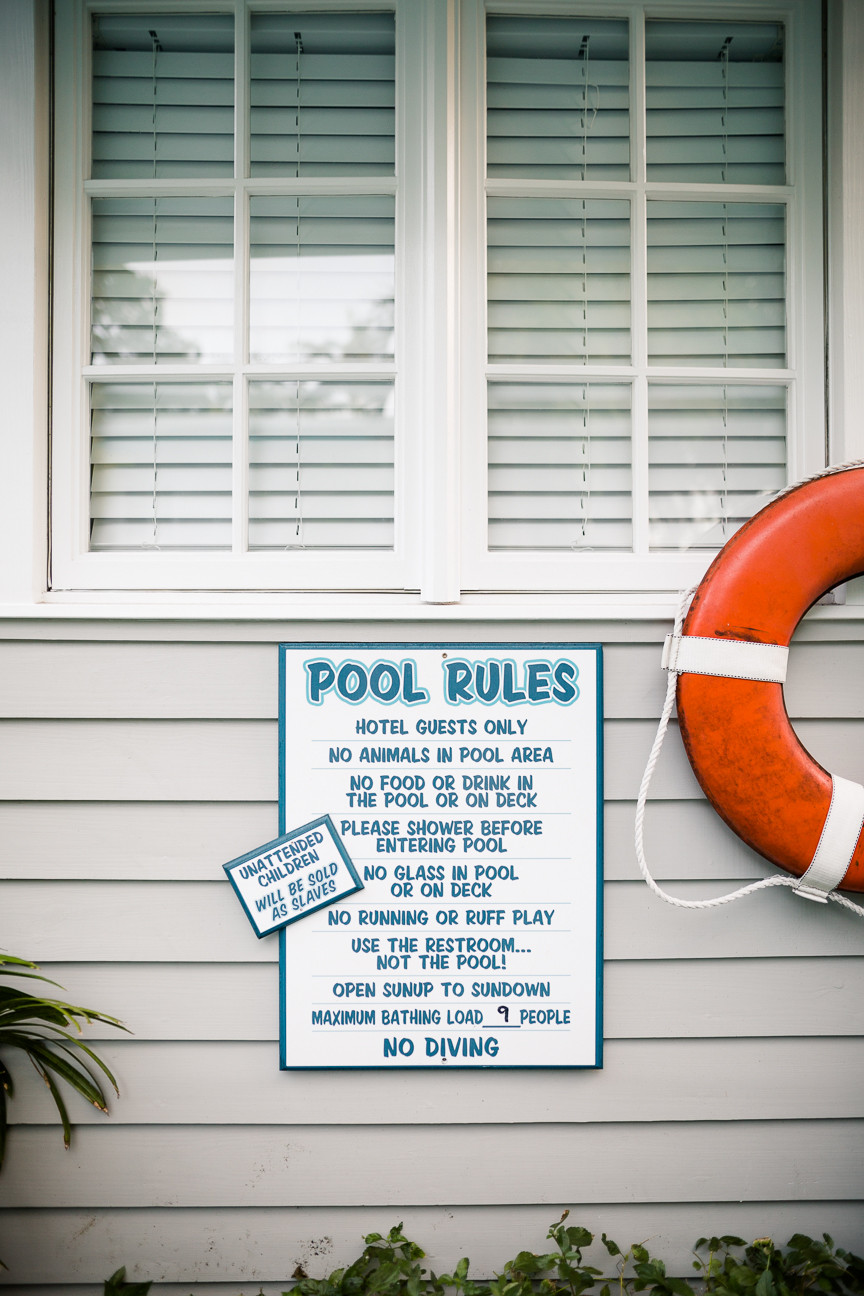 Pool rules, pool at Eden House in Key West, FL