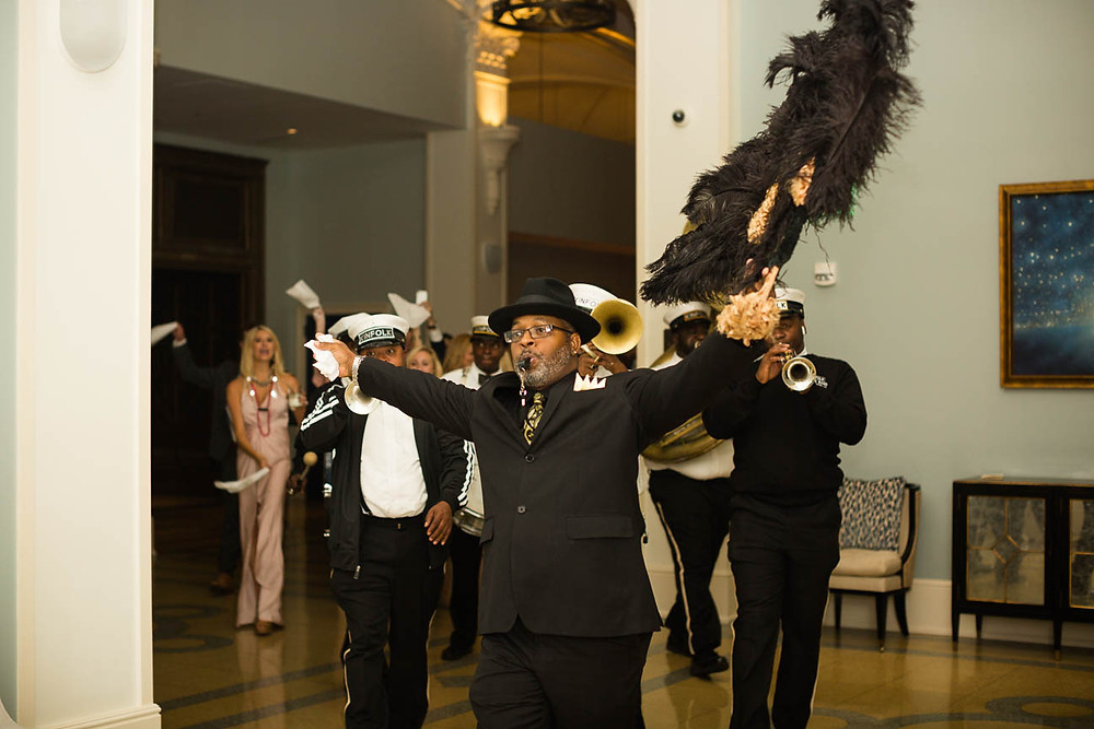 image of second line band in New Orleans