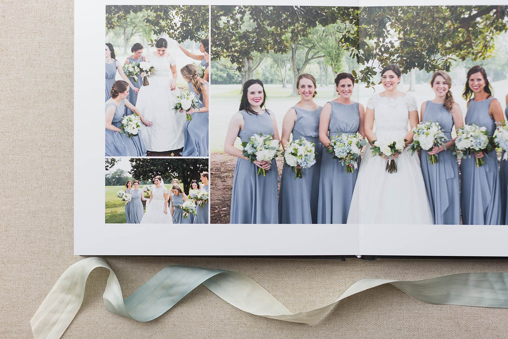 page with bridesmaids and ribbon