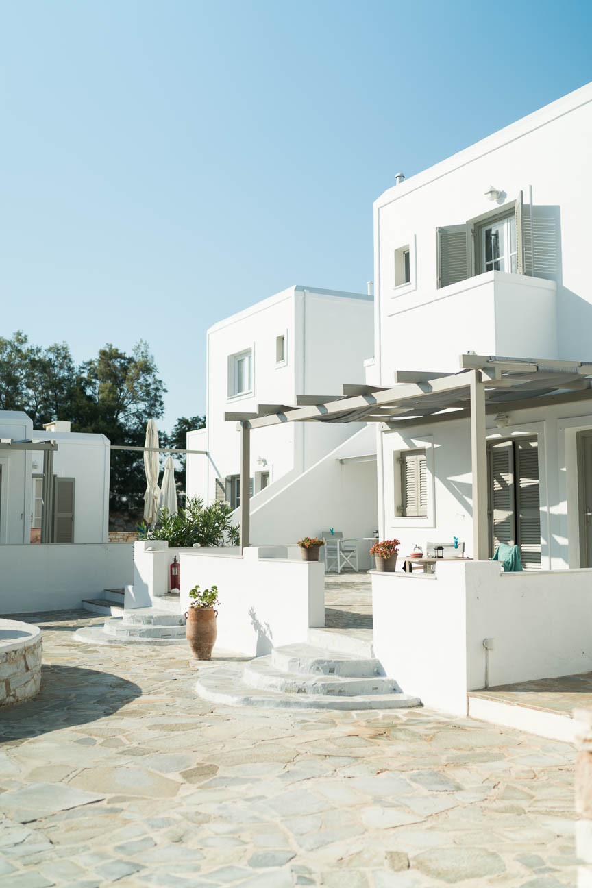 Exterior view of boutique hotel, Almira Suites, on the Greek island of Paros