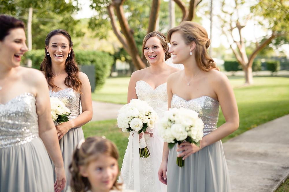 bridesmaids laugh together, destination wedding, southern weddings, wedding photography