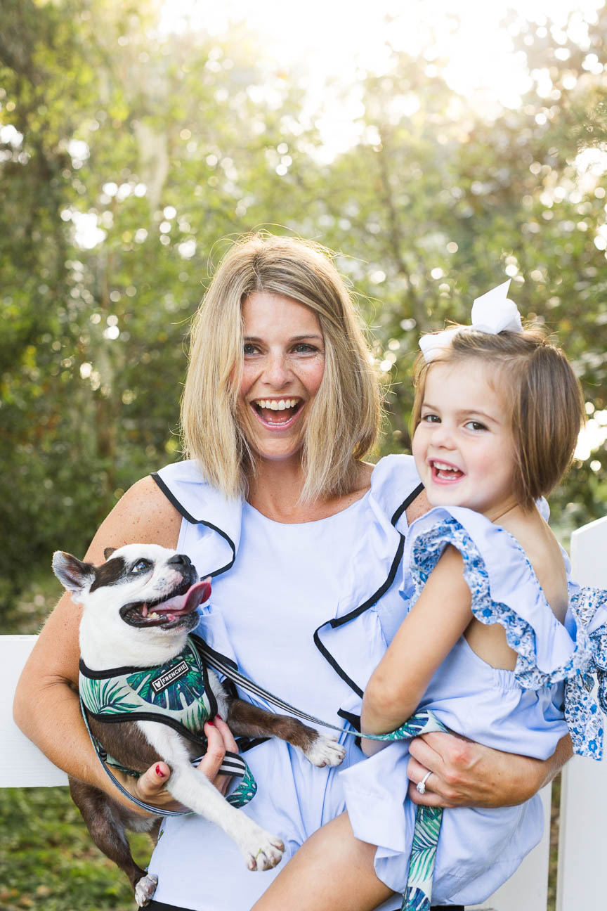 mom, daughter and puppy