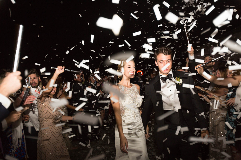 image of white confetti at Mississippi wedding