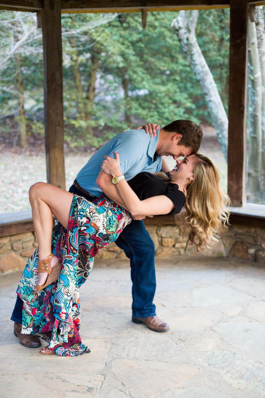 couple dances in gazebo, Asheville engagement session