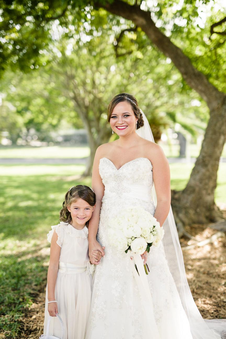 portrait of bride and flower girl, destination wedding, southern weddings, wedding photography